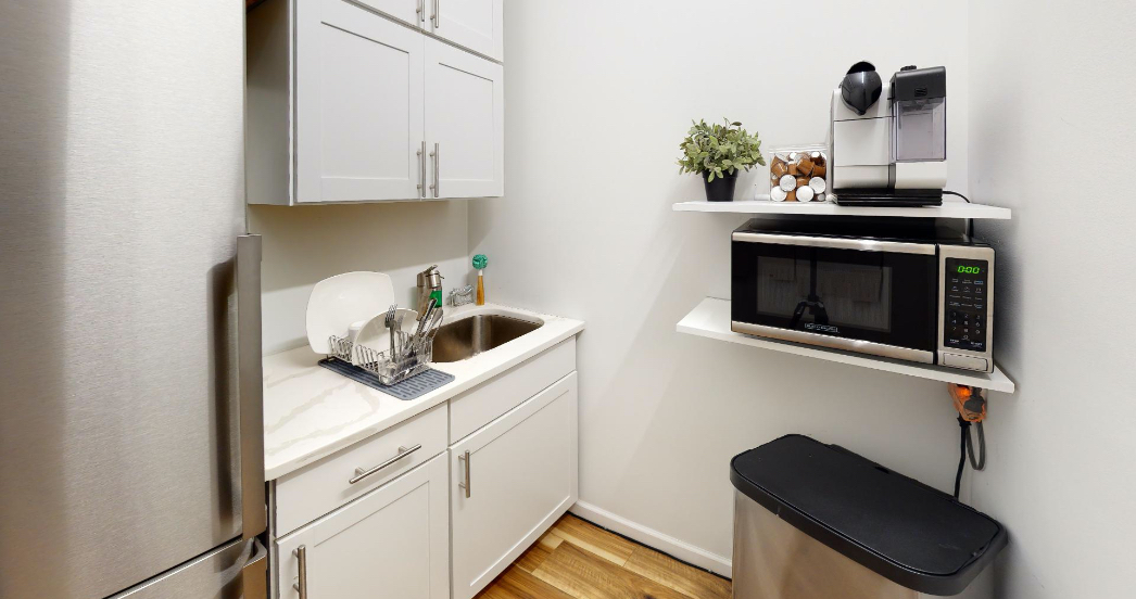 small kitchenette at a psychotherapy office rental in NYC