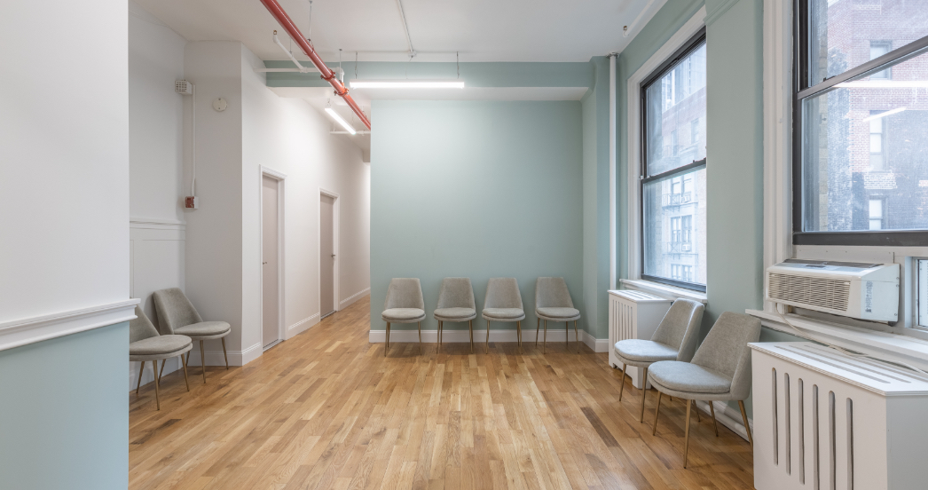 waiting room in therapy office space rental in nyc