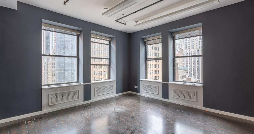 Blue room with wood floors for psychotherapy office in NYC